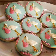 Stork Baby Shower Cookies by Grunderfully Delicious Fancy Cookies, Iced Cookies, Cute Cookies, Royal Icing Cookies, Cookies Et Biscuits, Sugar Cookies, Baby Cakes, Baby Shower Cakes, Stork Baby Showers
