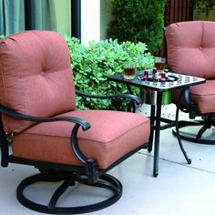 Darlee Charleston 2-person Cast Aluminum Patio Conversation Set With Ice Bucket Insert - Antique Bronze by Darlee. $1229.00. Cast aluminum construction promotes rust resistance. Set Includes: 2 Swivel Rocker Lounge Chairs, End Table W/ Ice Bucket Insert, Spicy Chili-Colored Polyester Cushions. Lightweight aluminum frame makes rearranging your furniture easy. Antique bronze powder coating is tougher than conventional paint finishes. Darlee Charleston 2-Person Cast Aluminum Patio ...