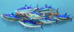 Blue Fin Tuna - Wall-Mounted Hand Blown Glass fish entire creation by; Michael Hopko #hopkoartglass #Hopko #artglass #bluefintuna