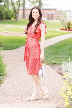 of july outfit idea: red polka dot midi dress outfit by popular affordable style Midi Dress Outfit, Dress Outfits, Cute Outfits, Preppy Outfits, Dot Dress, Modest Fashion, Preppy Fashion, Fashion Dresses, Womens Fashion