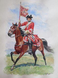 CHURCHILL: Gendarmerie de France - porte-guidon de la compagnie de la Reine - 1720-24, by Lucien Rousselot.