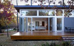 Bifold doors on modern wood deck