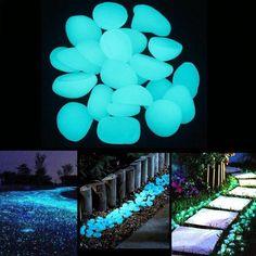 200 Pcs Garden Luminous Glowing Stone Pebble (Green Blue Orange Purple Each Color 50 Pcs) Garden Lawn And Garden, Home And Garden, Glow Stones, Aquarium, Pots, Decorative Pebbles, Pot Plante, Under The Lights, Garden Stones