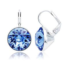 fa30945c6774 MYJS Bella Drop Earrings Rhodium Plated with Light Sapphire Swarovski  Crystals Exclusive Limited Edition Aquamarine Blue