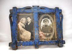 Antique Primitive Rare  Hand-carved Tramp Art Wooden  Picture Frame