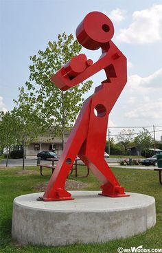 An abstract red sculpture on display in downtown Westfield, Indiana.