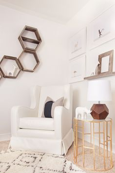 Glider and Side Table in a Chic, Modern Nursery!