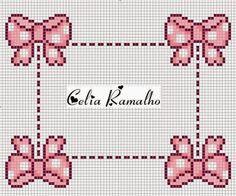 Apaixonada por Ponto Cruz: Laços                                                                                                                                                                                 Mais Cross Stitch Letters, Cross Stitch Boards, Cross Stitch Baby, Crochet Cross, Crochet Home, Baby Embroidery, Cross Stitch Embroidery, Baby Patterns, Stitch Patterns
