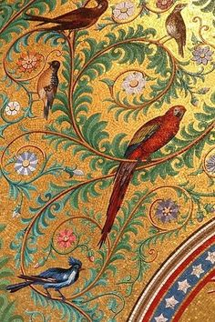 Parrot mosaic in the basilica Notre-Dame de la Garde in Marseille, France I Late 19th century