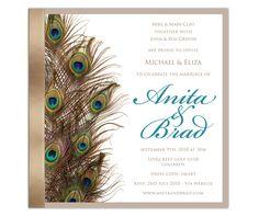 Peacock Wedding Invitations  http://www.myweddingprinter.com/peacock-wedding-invitations/ #Invitations, #Peacock, #Wedding