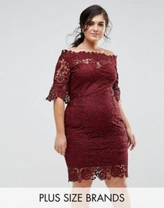 Paper Dolls Plus Off Shoulder Crochet Dress with Frill Sleeve