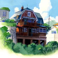 耳をすませば:Whisper of the Heart. House of Seiji's granpa. Hayao Miyazaki, Yoshifumi Kondo, Studio Ghibli Background, Love Scenes, Howls Moving Castle, House Drawing, Anime Films, Minecraft Buildings, Pictures To Draw