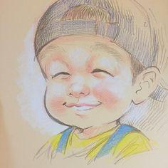 未来の大ブロガー様のご子息を描いて生き残りをかける作戦 #さとえみ の #似顔絵