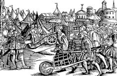 Camp of mercenary soldiers from the German edition of Bonfini's work - wood cut, 1545 E. Kovács Péter: Matthias Corvinus. Officina Nova, Budapest, 1990, p 105