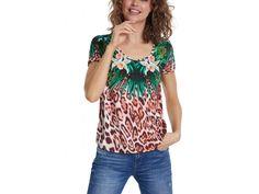 Desigual tričko Jungle   20SWTKC1/9019    Kolekce Jaro/Léto 2020 Jungles, Center Stage, Bold Prints, Green And Brown, Free Spirit, Floral Tops, Scoop Neck, Tees, Blouse