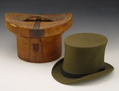 VICTORIAN LEATHER TOP HAT BOX  WITH HAT