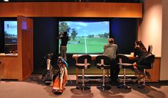 Golf all winter long indoors at OptiGolf in Middleton Golf Academy, Golf Club Grips, Golf Bar, Driving Tips, Perfect Golf, Golf Training, Indoor, Golf Simulators, Web Images