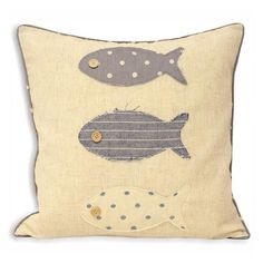 Seascape Fish Trio 45x45cm Cushion, Denim
