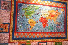 Quilt made with What  a World Collection Fabric by Jill McDoanld