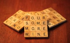 Scrabble Coasters With Recycled Wood Scrabble Tiles And Game Board Backing Set Of Four WINE-ing ALLOWED HERE. $25.99, via Etsy.