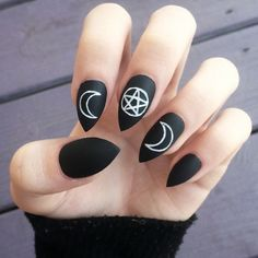 Occult fake hand-painted stiletto nails ($27) ❤ liked on Polyvore featuring beauty products, nail care, nails, makeup, nail polish, beauty and black