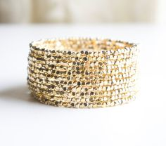 Gold Cube Beaded Cuff  Bracelet Seed Bead by ChooseLikeBuy on Etsy