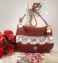 ChicSacs Copper brown handmade crochet bag. Vintage by ChicSacs