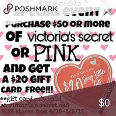 💟earn a *FREE victoria's secret gift card!!!💟 💟spend $50 or more in my closet (@kimmando) and receive a FREE $20 gift card to use at any VICTORIA'S SECRET or PINK store or online!!!    💟gift card is valid from 4/18-5/8/17!!!  💟**please ask all questions before purchasing!!!   💟only 1(one) gift card per order!!! Victoria's Secret Intimates & Sleepwear