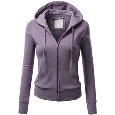 J.TOMSON Womens Thin Zip-Up Long Sleeve Hoodie (€17) ❤ liked on Polyvore featuring tops, hoodies, thin hoodie, purple long sleeve top, long sleeve hoodies, zip up hoodies and hooded sweatshirt