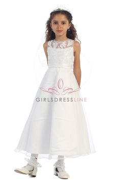White Pearl sequence Flower Girl Dress & Junior Bridesmaid Dress