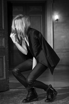 BLK DNM    A PORTRAIT OF DOROTHEA BARTH JORGENSEN IN BLK DNM F/W13. PHOTOGRAPHED BY JOHAN.    PINSTRIPE BLAZER 6, LEATHER PANT 1 AND TANK 10.