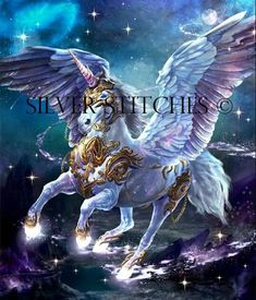 "Winged Unicorn with gold armor ""Galactic Pegasus"" Mythical Creatures Art, Mythological Creatures, Magical Creatures, Fantasy Creatures, Unicorn Fantasy, Unicorn Art, Fantasy Art, Horse Drawings, Animal Drawings"