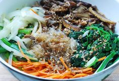 Japchae use miracle or shiratake noodles instead of the glass noodles. they taste virtually the same! Stir Fry Glass Noodles, Korean Glass Noodles, Korean Dishes, Korean Food, Japchae Recipe Korean, Japchae Noodles, Asian Recipes, Ethnic Recipes, Easy Recipes