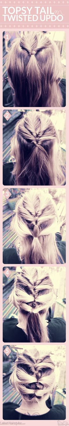 18 Quick and Simple Updo Hairstyles for Medium Hair | Trubridal Wedding Dresses #trubridal   #updo   #hairstyles