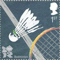 A shuttlecock by David Holmes was used as the image for badminton  Royal Mail first class postage stamps launched for London 2012 Olympic Games
