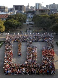 UT Spelled out by students on campus    Re-Pinned by http://high5collegeclub.com