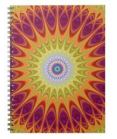 Mandala sun spiral notebook $14.35 *** Colorful abstract fractal mandala design - notebook