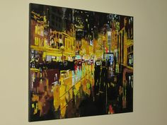 WORK IN ACRYLIC NYC NIGHT Night Work, Wall Paintings, Nyc, Wall Murals, Murals, New York City