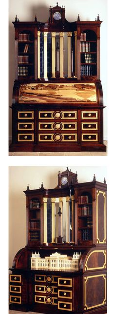 David Linley's BLENHEIM BUREAU; this piece of furniture takes its inspiration from one of the greatest examples of English Baroque architecture, Blenheim Palace. Constructed in beautiful French polished mahogany, the bureau is decorated with gilded ormolu details, carvings and incorporates marquetry, Grand Tour column, a stunning architectural box and some secret drawers. The finale of this piece is that it is a mechanical piece of furniture which runs to transform itself into a writing…