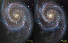 Supernovae in the Whirlpool (Jun 11 2011)  Image Credit & Copyright: R Jay Gabany Where do spiral galaxies keep their supernovae? Near their massive star forming regions, of course, and those regions tend to lie along sweeping blue spiral arms. Because massive stars are very short-lived, they don't have a chance to wander far from their birth place. Remarkably, in the last 6 years two Type II supernovae, representing the death explosions of massive stars, have been detected in nearby spiral…