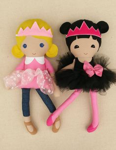 Custom listing for Invanka:  These are handmade cloth dolls measuring 20 inches. They are wearing sweet, sweet playful outfits with removable tulle