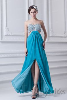 A-line Sweetheart Bow Chiffon Floor Length Prom Dress