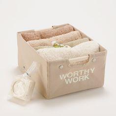 WORTHY WORK PLUS/キャリーボックス カフェオレS 1365yen 芯を外して洗濯できる収納ボックス