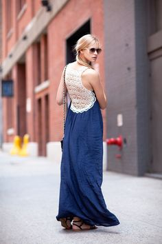 Crochet details add a sexy bohemian element to this standard maxi dress.