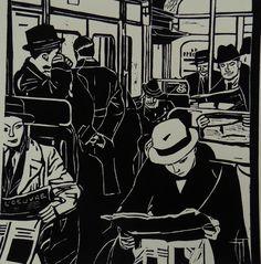 "Linogravure ""The end"" - Géraldine THEUROT - artiste-peintre"