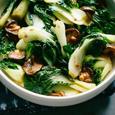 Bok Choy and Mushroom Stir-Fry | MyRecipes.com Think of mild-flavored, juicy bok choy as an invitation to experiment in the kitchen. It's especially good with earthy mushrooms. Thoroughly drying the bok choy before cooking ensures that you don't end up with a watery sauce.