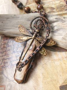 Wire Wrapped Dragonfly and Jasper Necklace by SharonofPortland