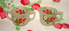 Westmoreland Satin Glass Strawberry Patterned Creamer 'n Sugar Bowl, No Lid