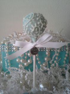 Tiffany Blue Cake Pops - Breakfast at Tiffany's - Bridal Shower - Wedding - Birthday- Edible Favor. $36.00, via Etsy.