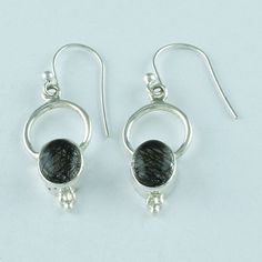 BLACK RUTILE STONE HIGH QUALITY SEMIPRECIOUS 925 STERLING SILVER EARRINGS #SilvexImagesIndiaPvtLtd #DropDangle